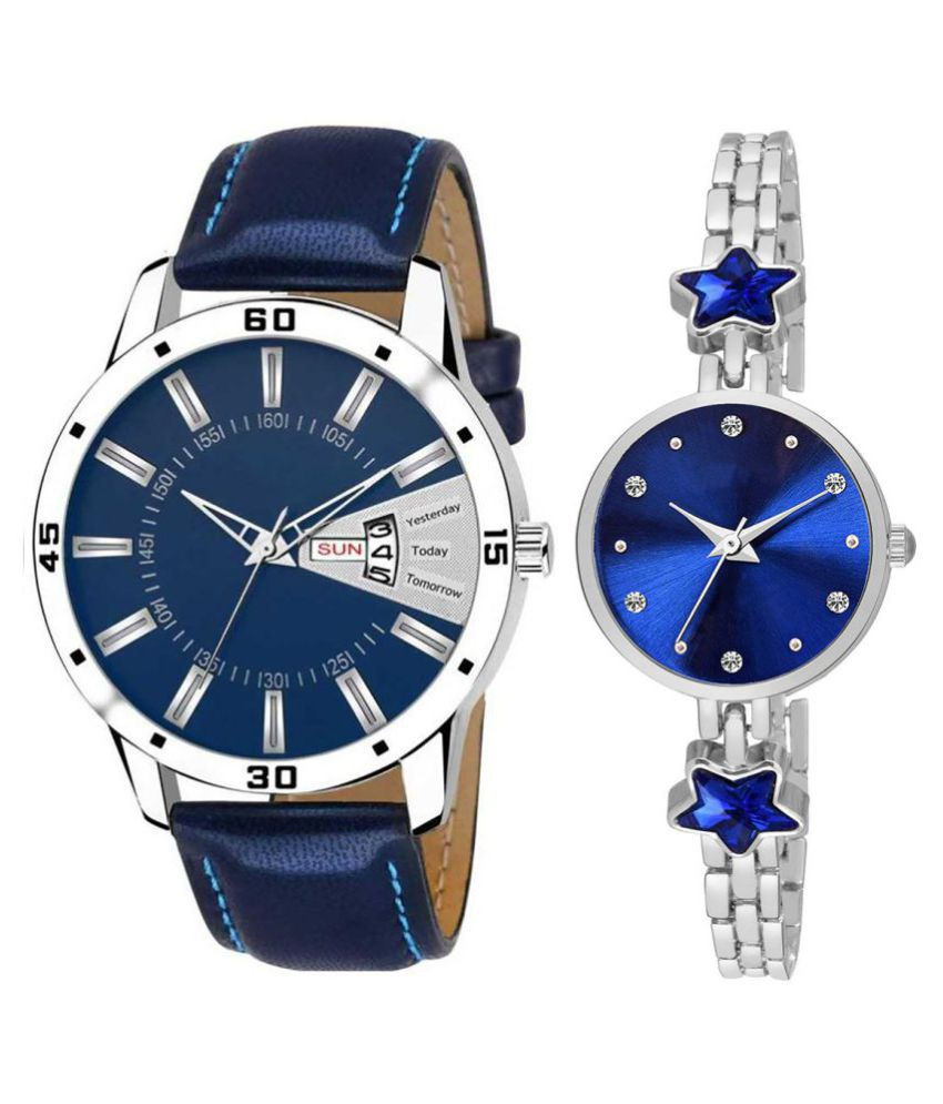 Selveen enteprise Blue Dial Day And Date New Stylish Couple Watch For Men And Women DR154