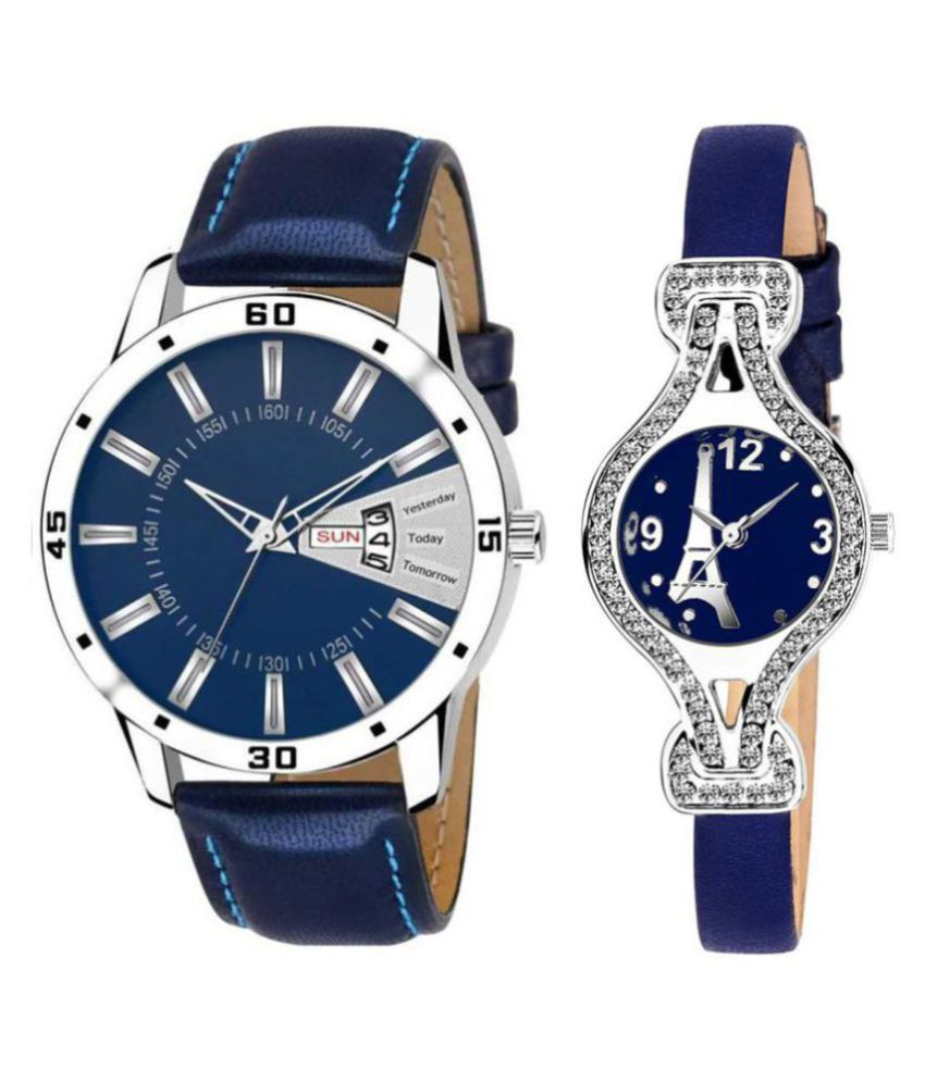 Selveen enteprise Blue Dial Day And Date New Stylish Couple Watch For Men And Women DR156
