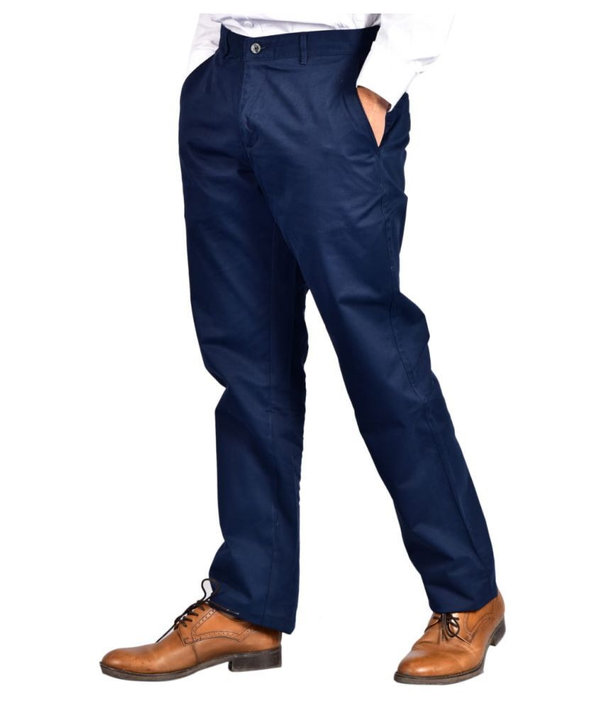7TH STITCH Dark Blue Slim -Fit Flat Trousers