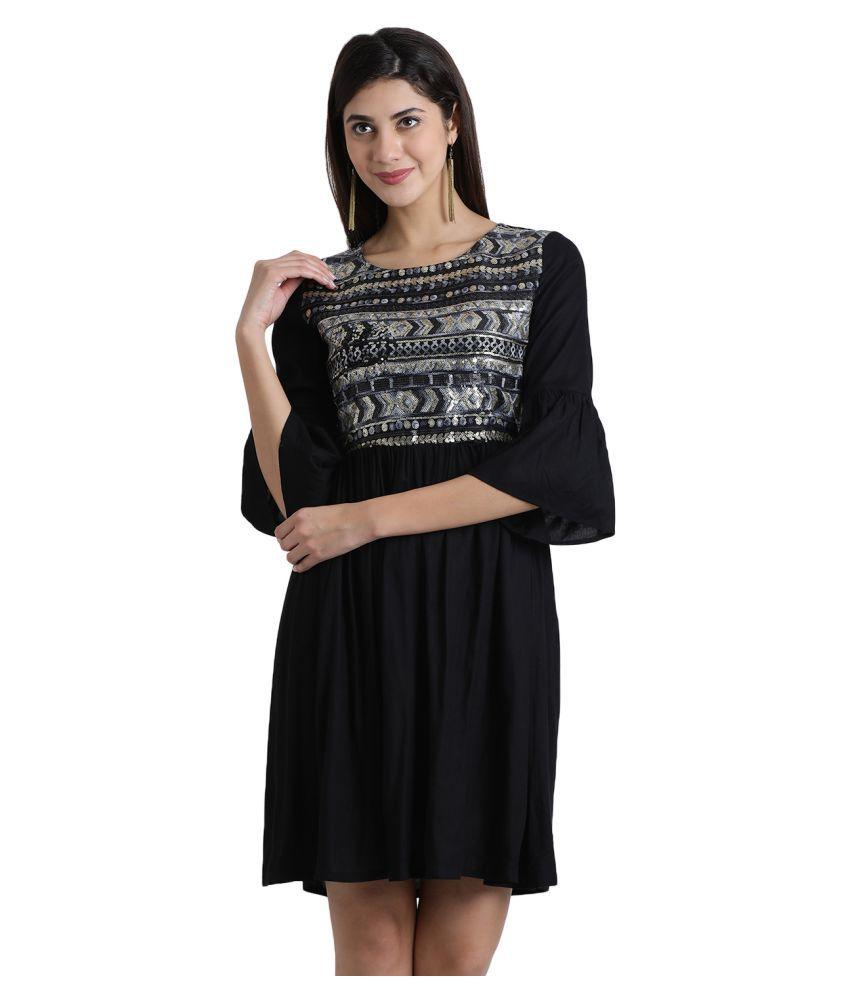 Aayna Cotton Black Regular Dress