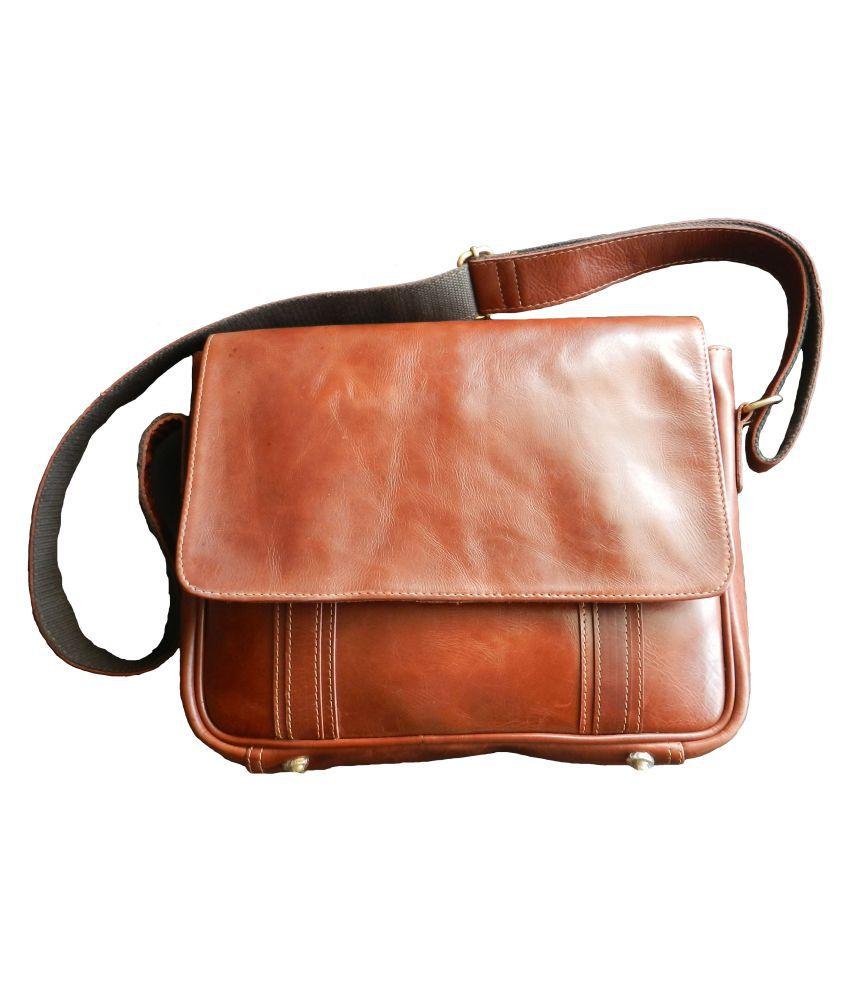 Leather Art SE-02 Tan Leather Casual Messenger Bag