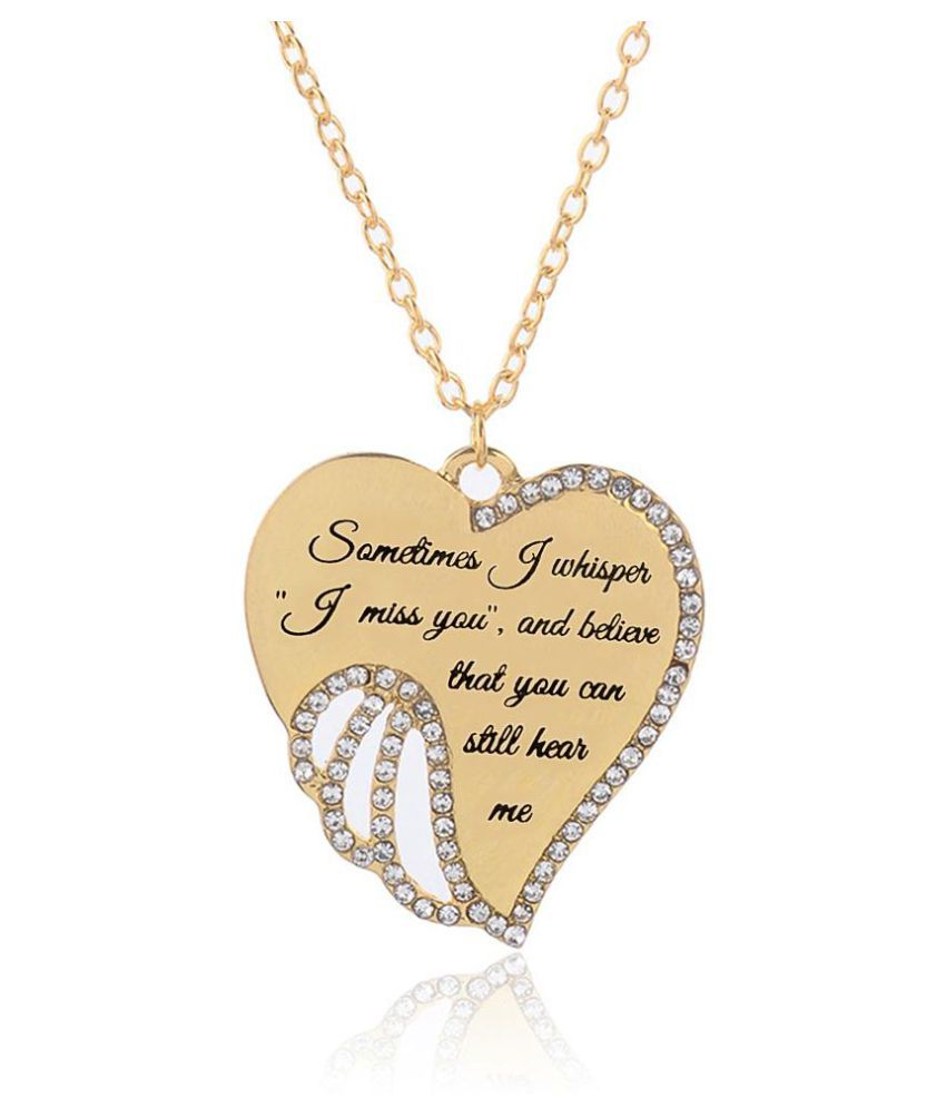 Rhinestone Heart Pendant Clavicle Chain Women Necklace Jewelry Gift (Gold)