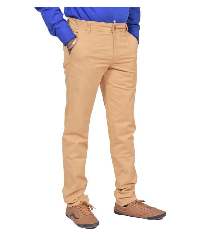 Just Trousers Khaki Regular -Fit Flat Trousers