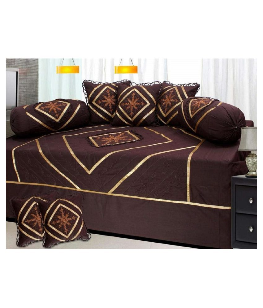 Shopway Collection Cotton Brown Embroidery Diwan Set 8 Pcs