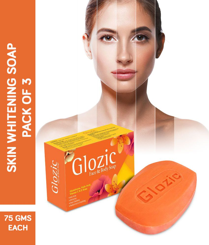 Glozic Glutathione Kojic Acid & Vitamin C Skin Whitening Soap 225 gm Pack  of 3 ( 3 x 75 gm )