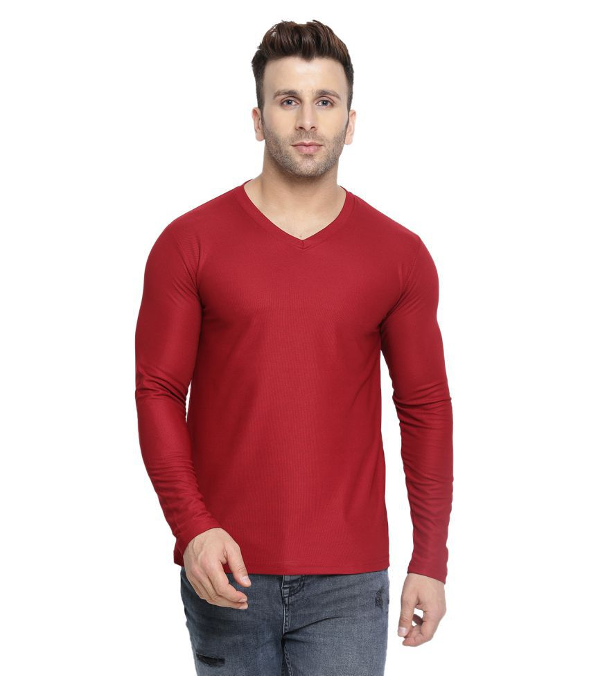 CHKOKKO Dry Fit V Neck Polyester full Sleeves Plain Sports and Gym T Shirt for Men's