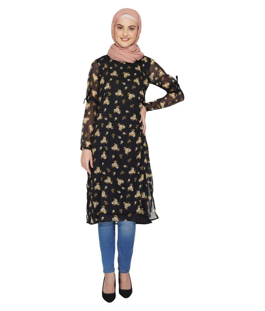 Ruqsar Black Georgette Stitched Burqas without Hijab