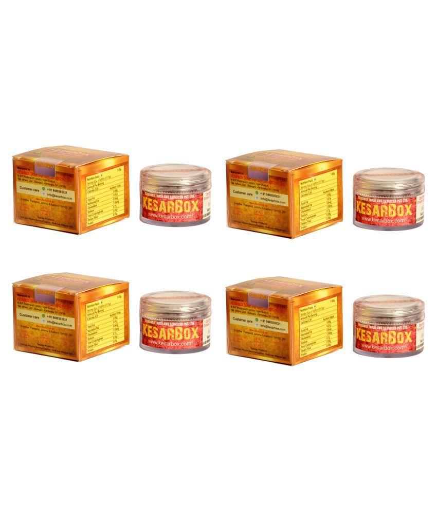 KesarBox Saffron - Certified A++ Grade -100% Pure & Organic(4 packs of 1G each) 4 gm