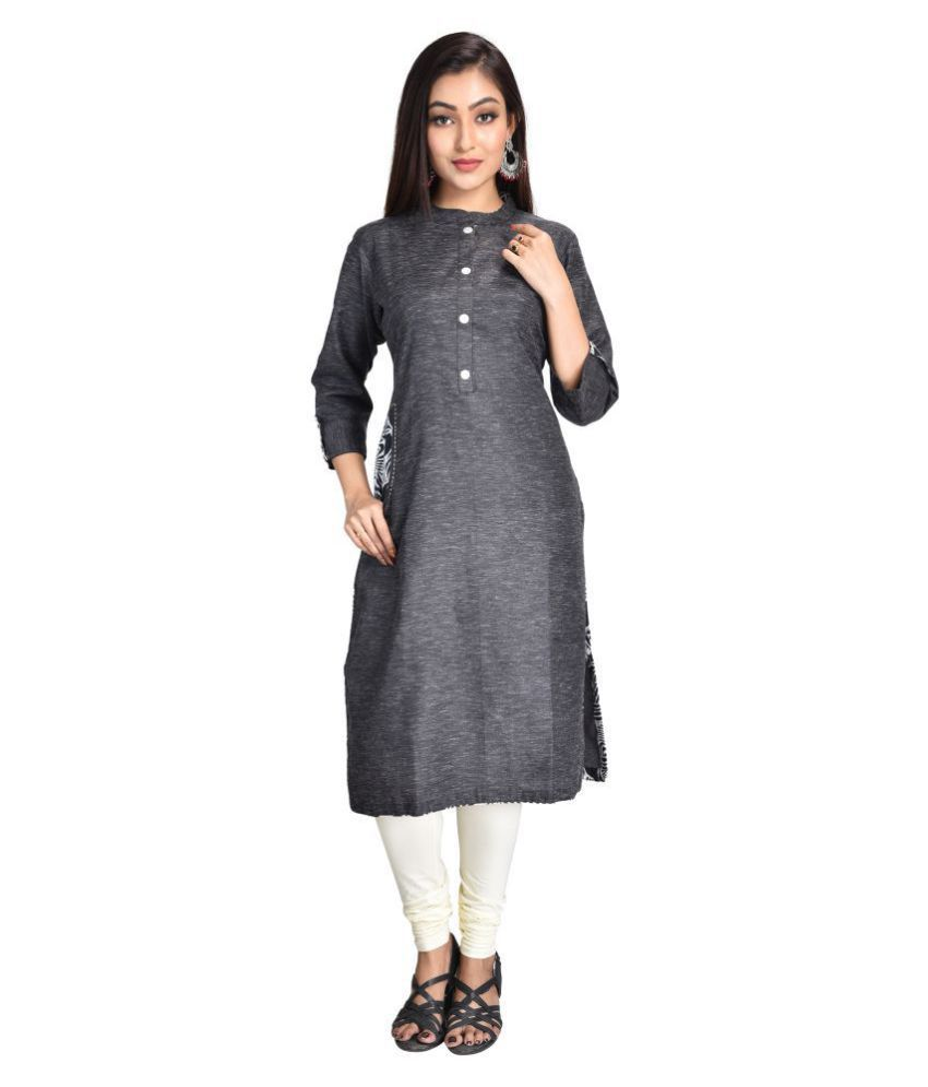 Cherry FAB Black Khadi Straight Kurti