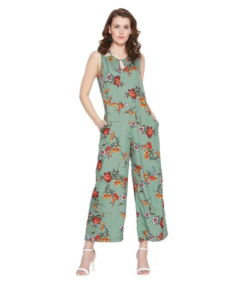 Purys Green Polyester Jumpsuit