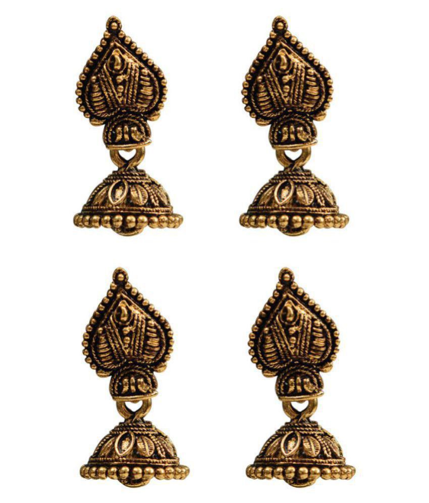 Taj Pearl 2 pairs Traditional Jhumki Earrings