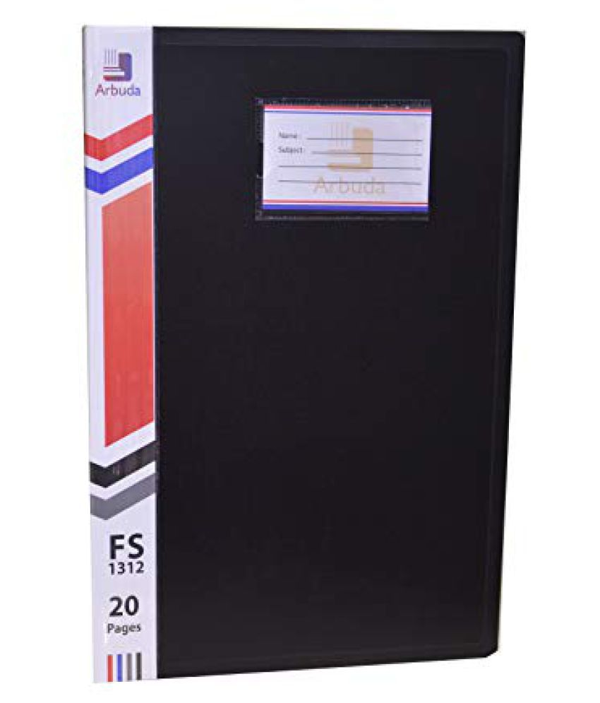 Display Book Arbuda Clear Folder Plastic File Display Presentation Book, 20 Pockets, Black Colour F/S