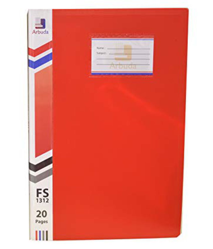 Display File Display Book Arbuda Clear Folder Plastic File Display Presentation File 10 Pockets Red Colour F/S Qty 1 No