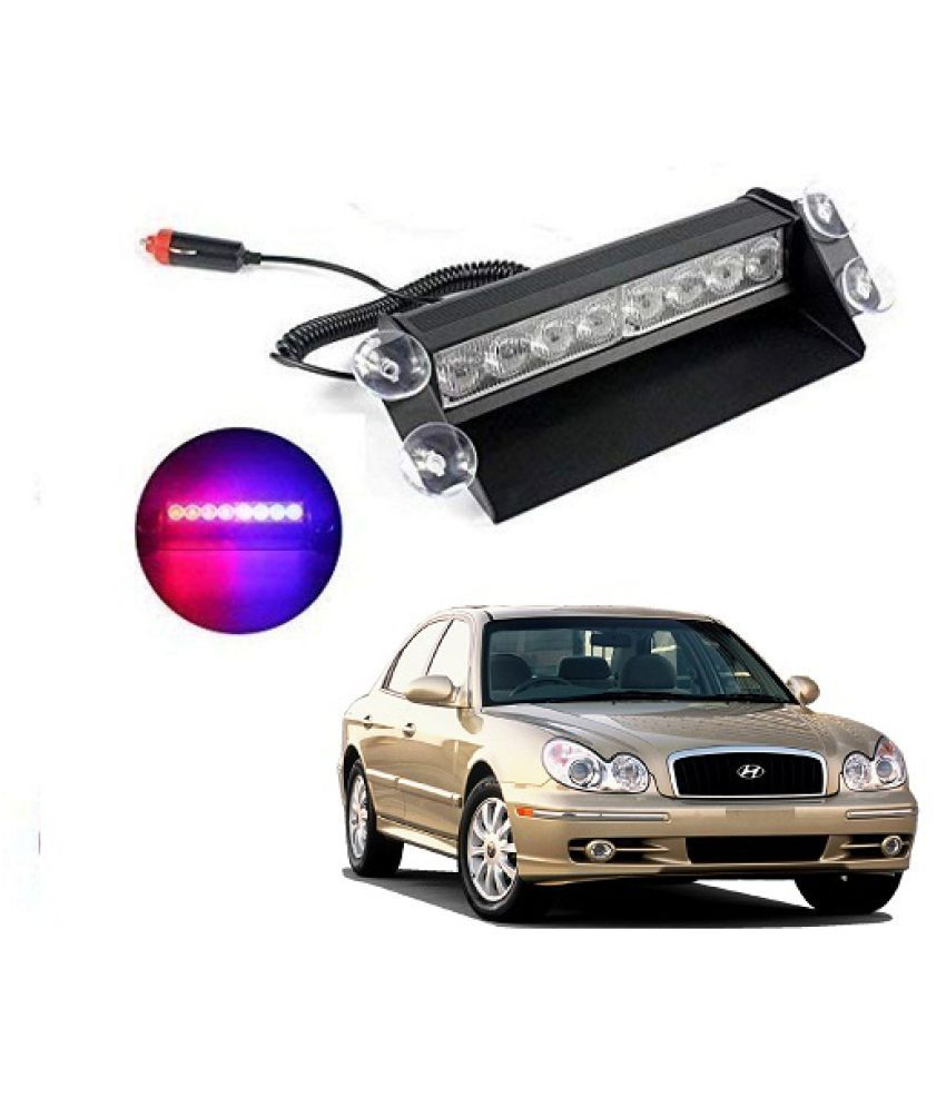 TrigcarS Hyundai Sonata Old Waterproof 8 LED Red Blue Police Flashing Light for All Cars