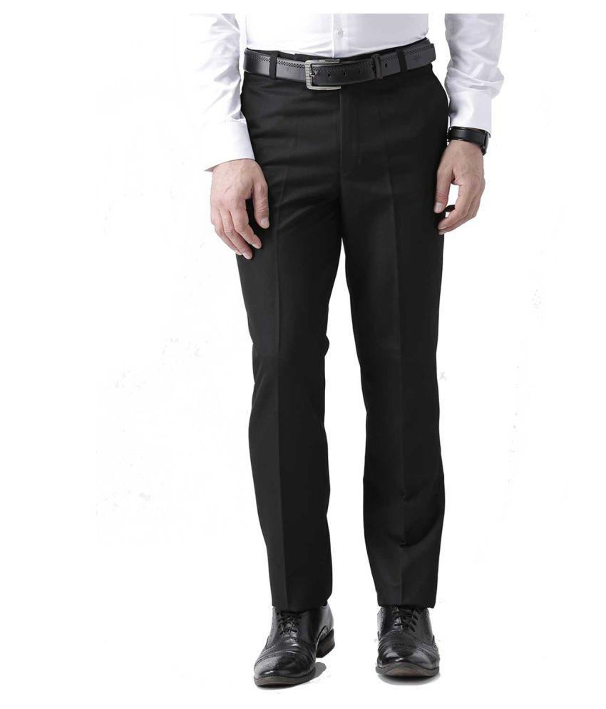 American-Elm Black Slim -Fit Flat Trousers