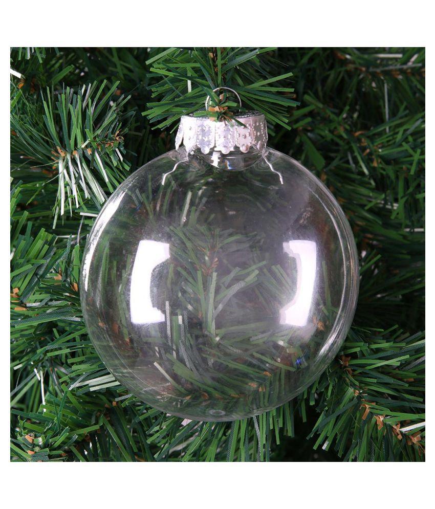 10//12cm Christmas Tree Clear Plastic Flat Ball Pendant Home Party Ornament Decor