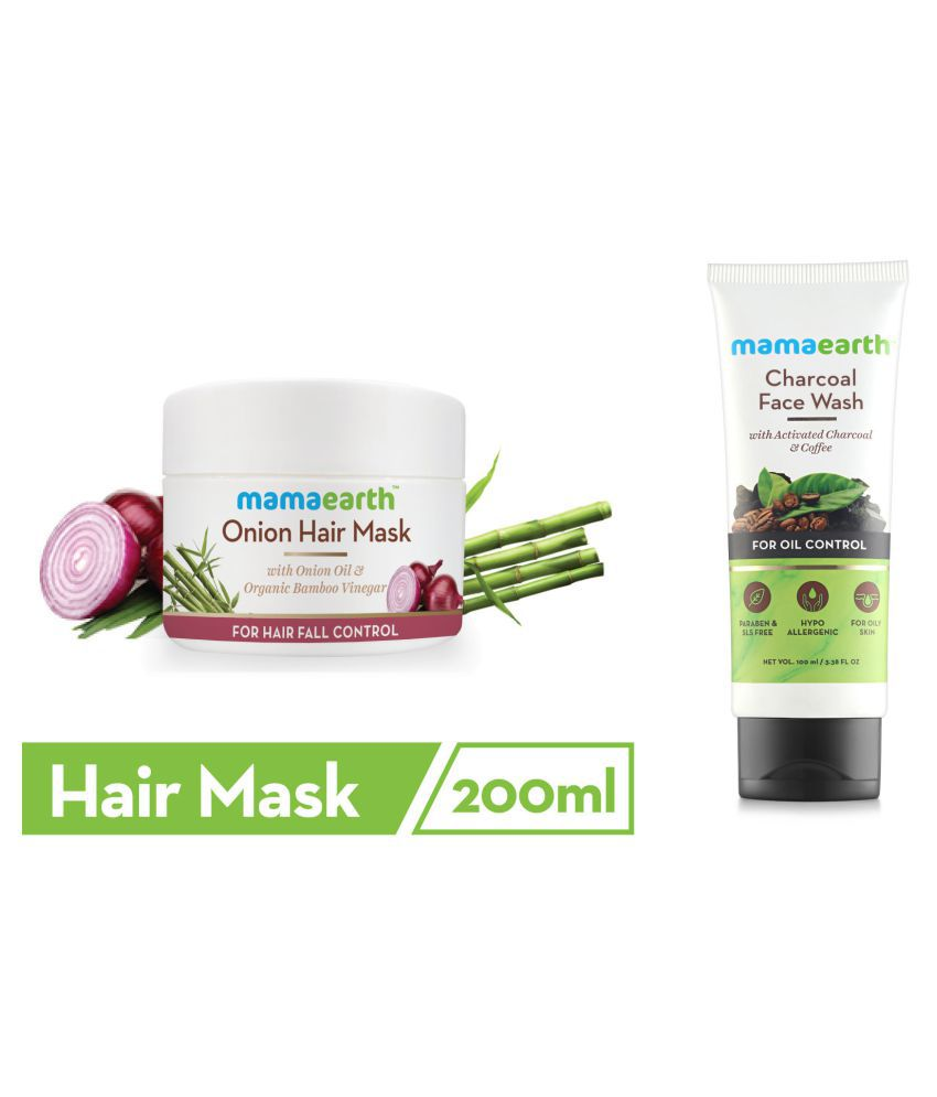 Mamaearth's Onion Hair Mask For Dry & Frizzy Hair, Controls Hairfall and Boosts Hair Growth, With Onion & Organic Bamboo Vinegar\n200ml and Charcoal Natural Face Wash for oil control and pollution defence 100 ml - For Oily Skin