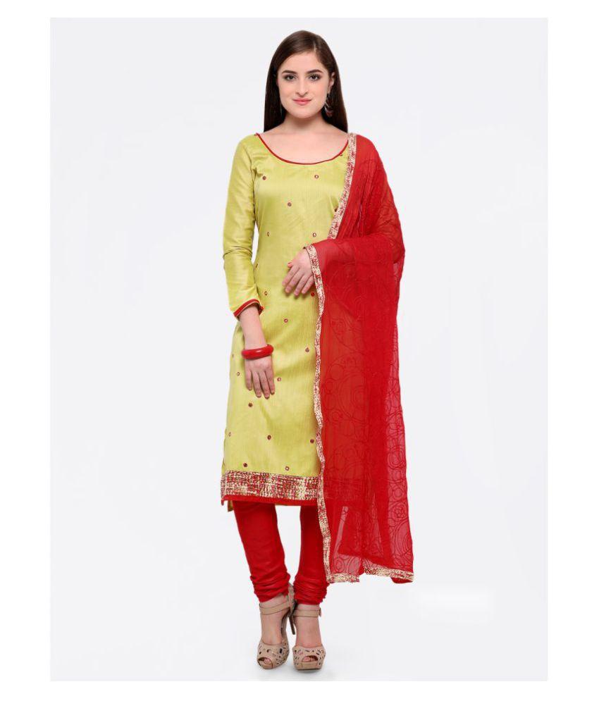 Maroosh Beige Cotton Straight Semi-Stitched Suit