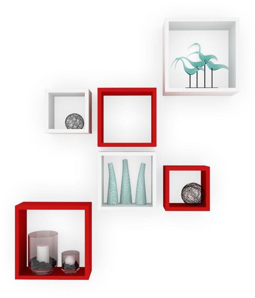 Designer Decorative Multicolor Useful Square Wall Shelf-WS16