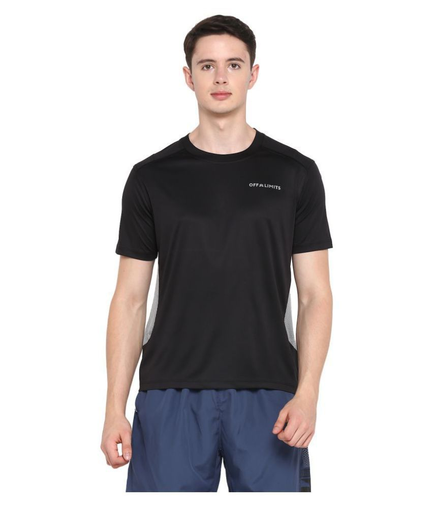 OFF LIMITS Polyester Black Solids T-Shirt