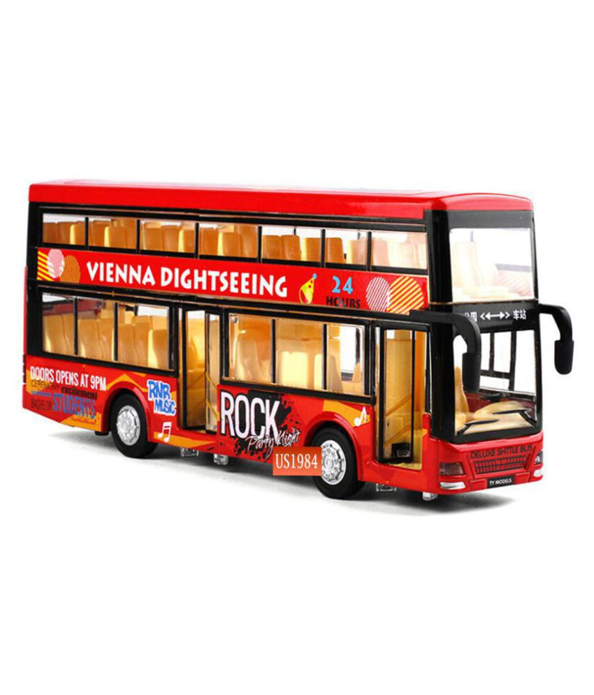 Fastdeal Die-Cast Double Decker 4 Wheel Drive Metal Bus Car Pull Back with 3 Openable Doors and Light, Music for kids