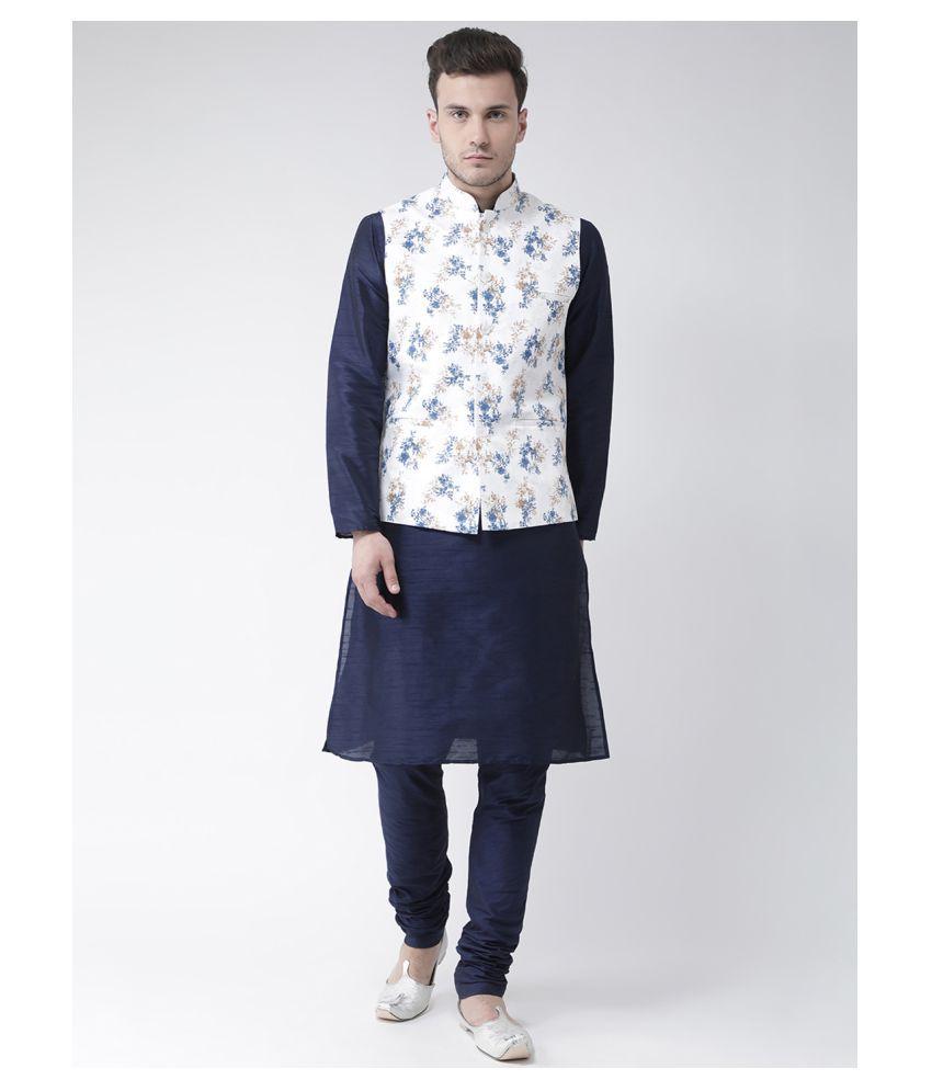 Deyann White Linen Kurta Pyjama Set