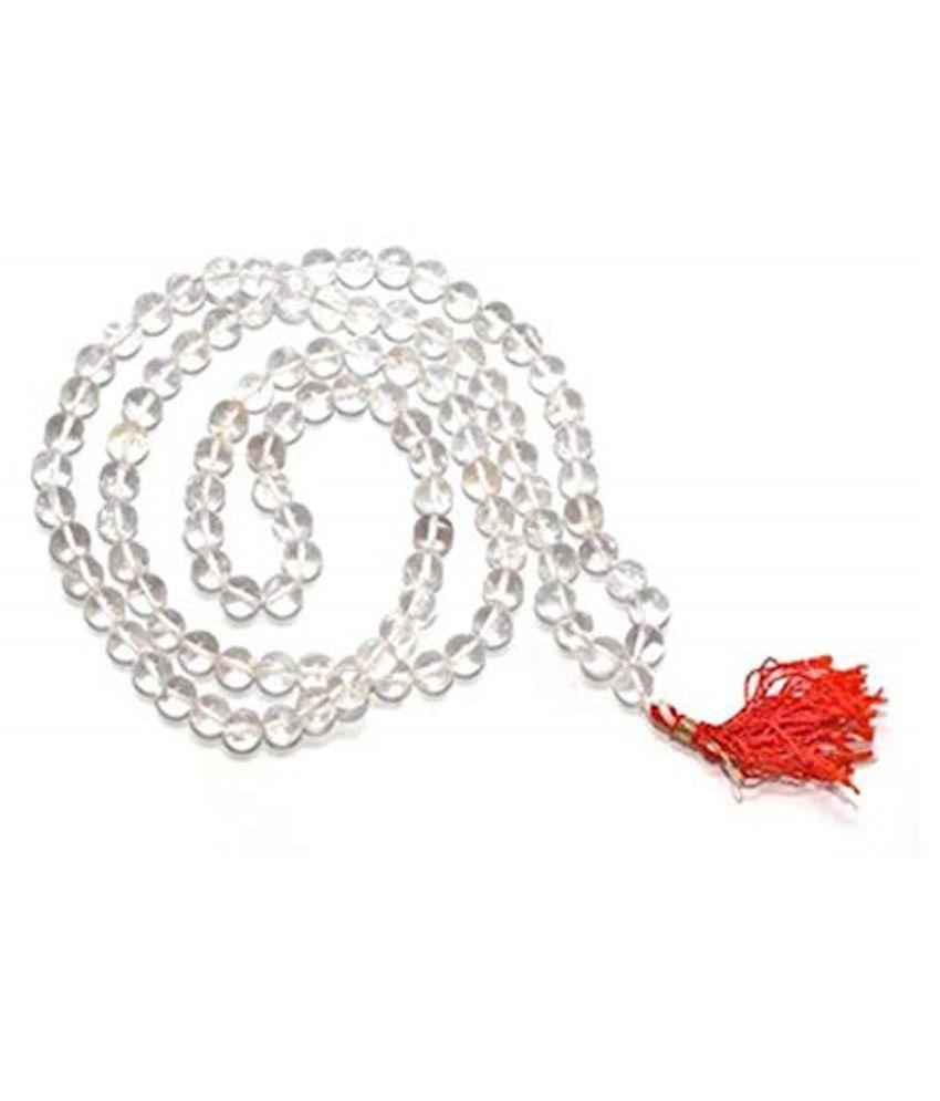 Clear Quartz (Sphatik) Mala 108 Round Bead 6mm Crystal Stone Mala/Necklace for Unisex Fabric Necklace