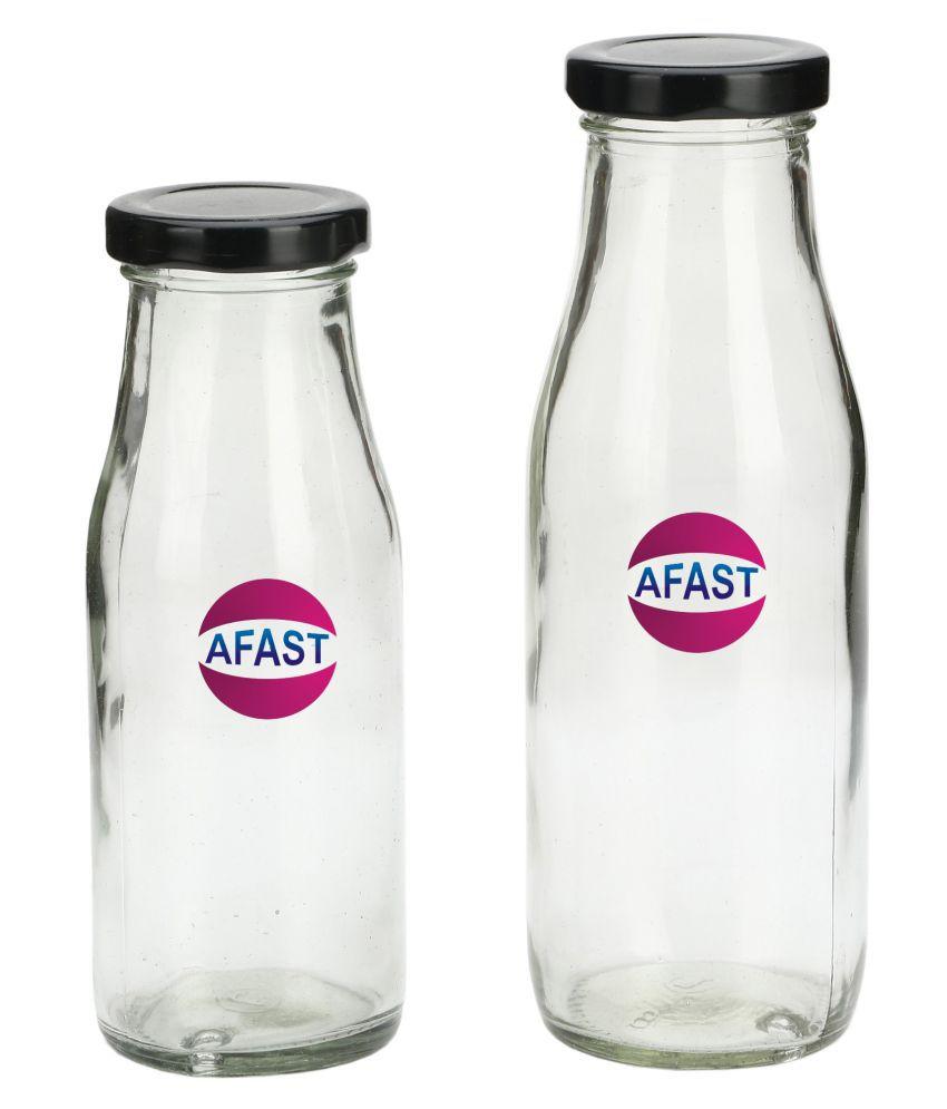 AFAST Transparent Jar Glass Oil Container/Dispenser Set of 2 300 mL