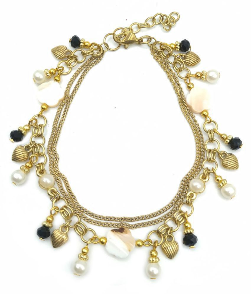 Vintage round Shell Beads Starfish & multi charms Anklets For Women.