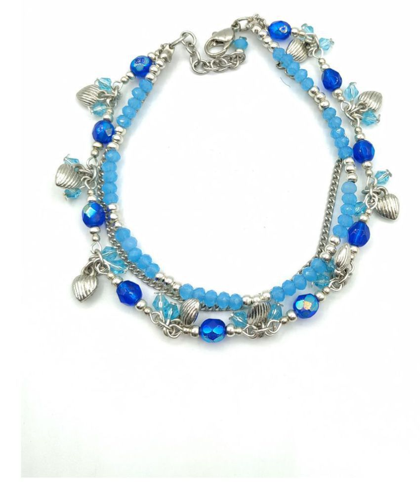 double layer anklet charms with turquoise beads anklet cheap handmade accessory.