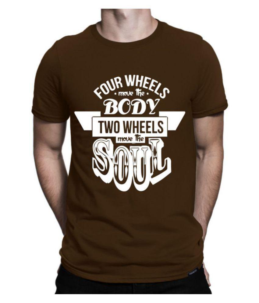 feranoid 100 Percent Cotton Brown Printed T-Shirt