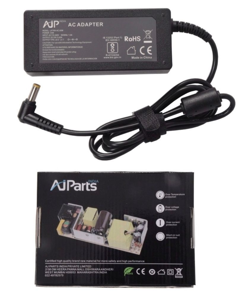 AJP India Laptop adapter compatible For Acer Aspire 5530-5824 PSU 65W 19V Battery Charger - 5.5MM x 1.7MM