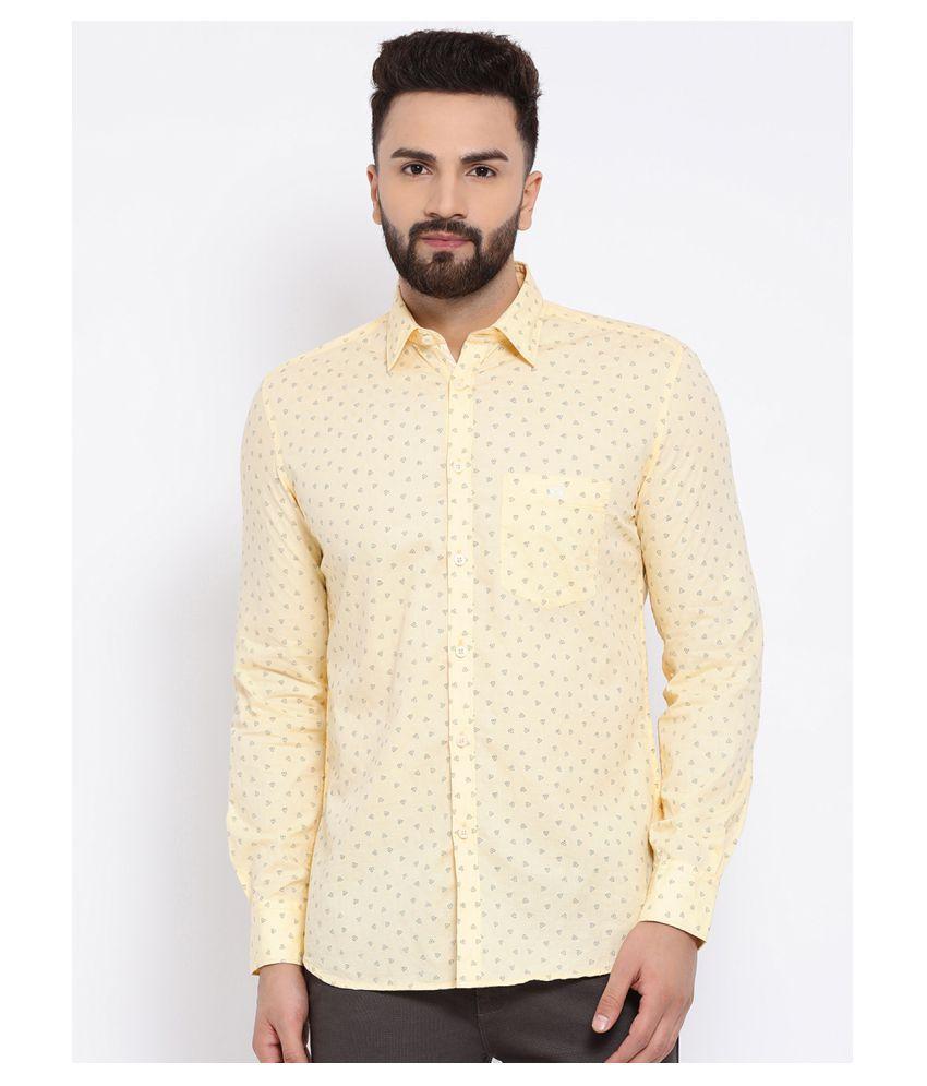 Crimsoune Club 100 Percent Cotton Yellow Prints Shirt
