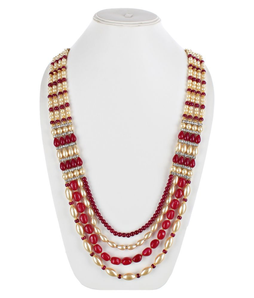 LUCKY JEWELLERY Maroon Alloy Chains