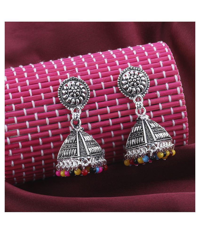 Silver Shine Pretty Multicolor Round Triangle Jhumki Earrings.