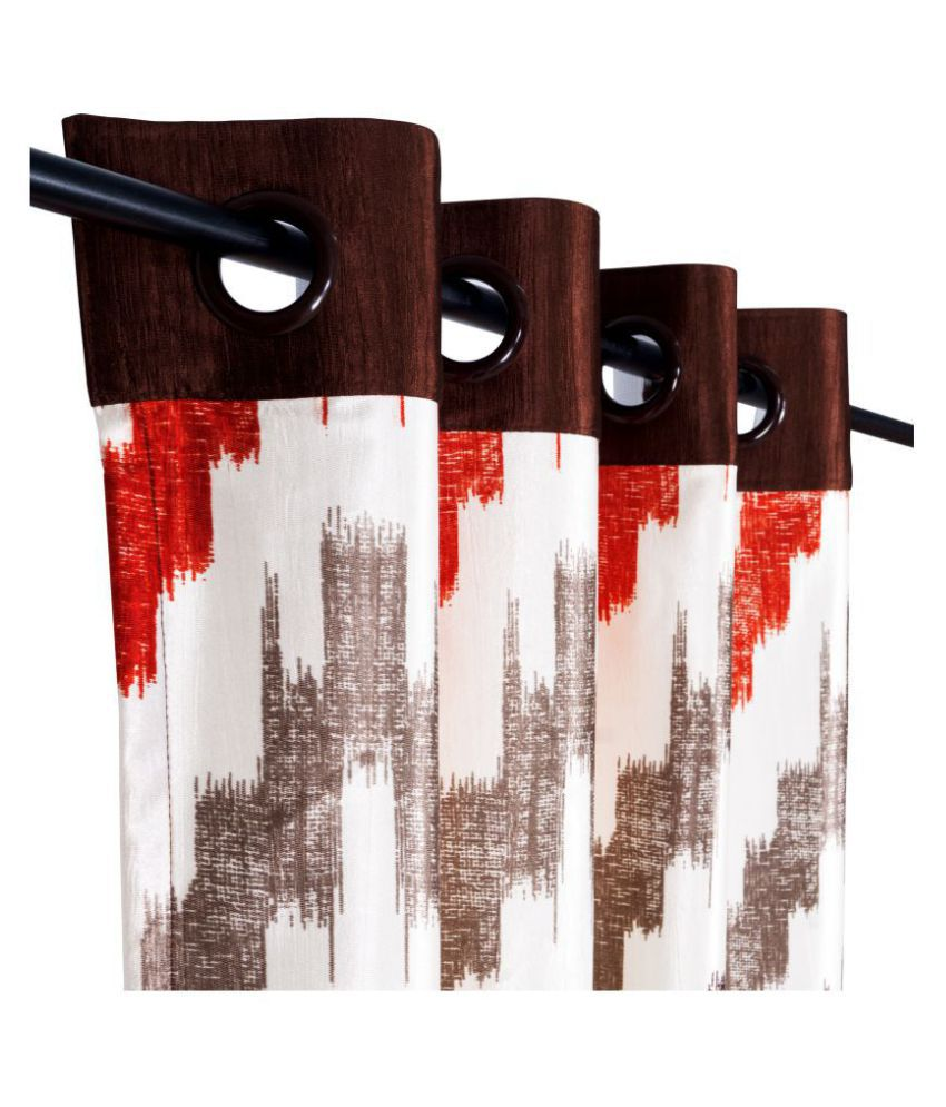 Story@Home Set of 2 Window Blackout Eyelet Polyester Curtains Brown