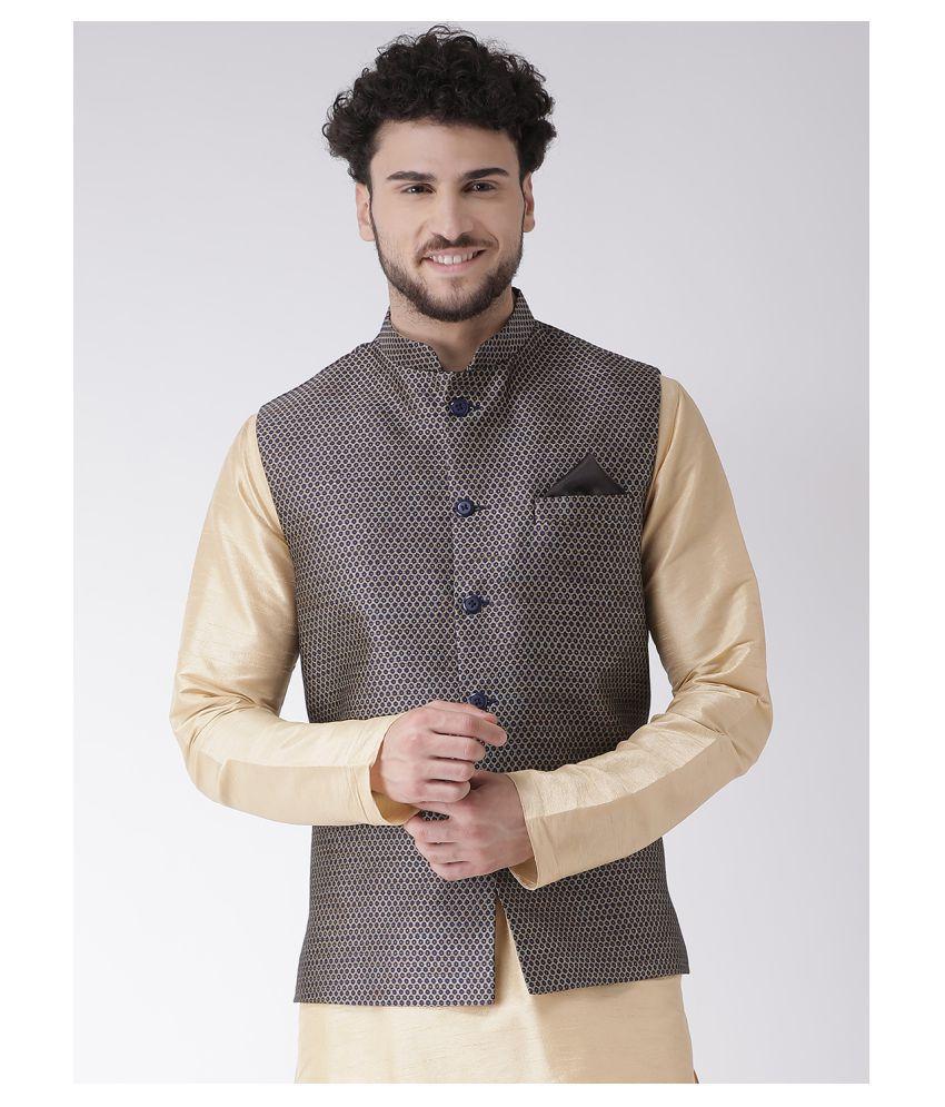 Tabard Blue Silk Blend Nehru Jacket