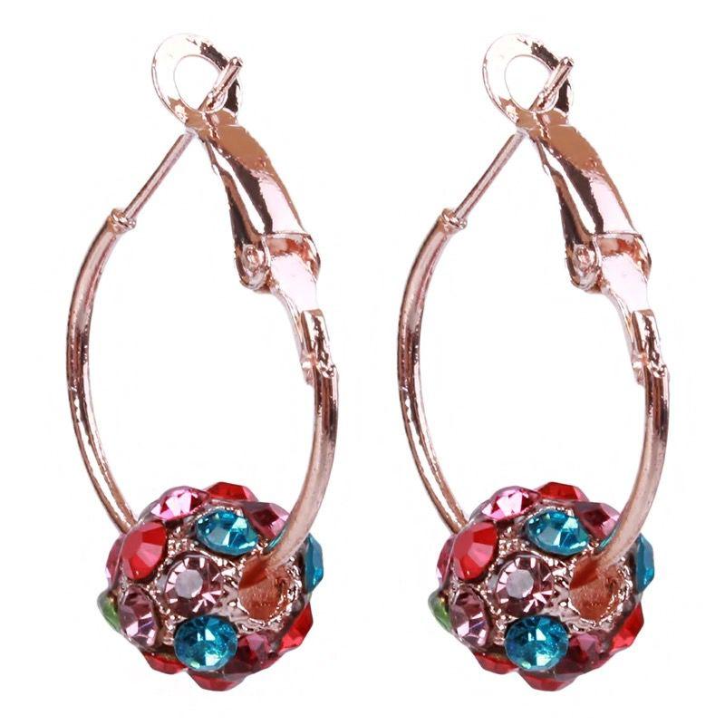 Austrian Crystal Ball Gold Earrings