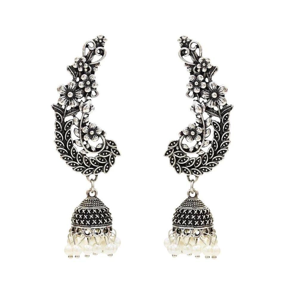 Vintage Ethnic Women's Round Silver Jhumki Earrings