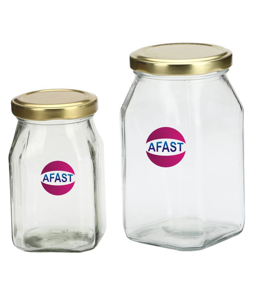 AFAST Bx012 Glass Tea/Coffee/Sugar Container Set of 2 300 mL
