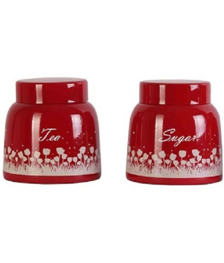 BOXY Red Pyramid Set of 2 Steel Tea/Coffee/Sugar Container Set of 2 900 mL