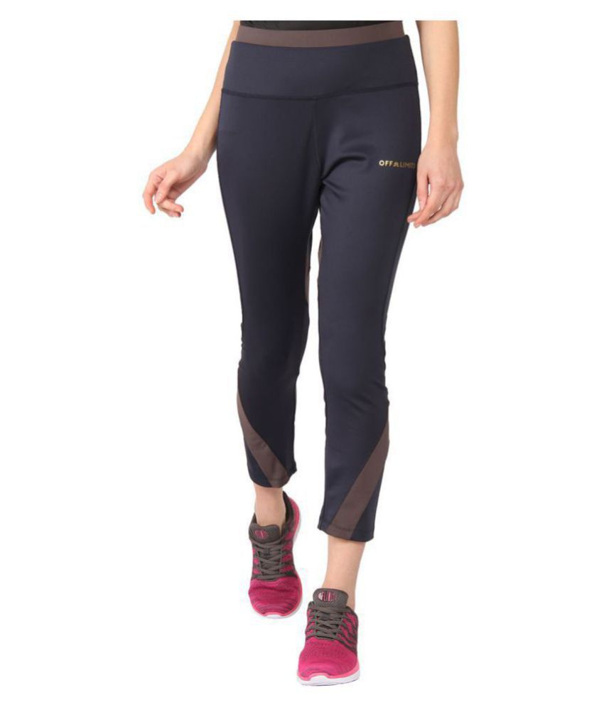 OFF LIMITS Navy Polyester Solid Tights