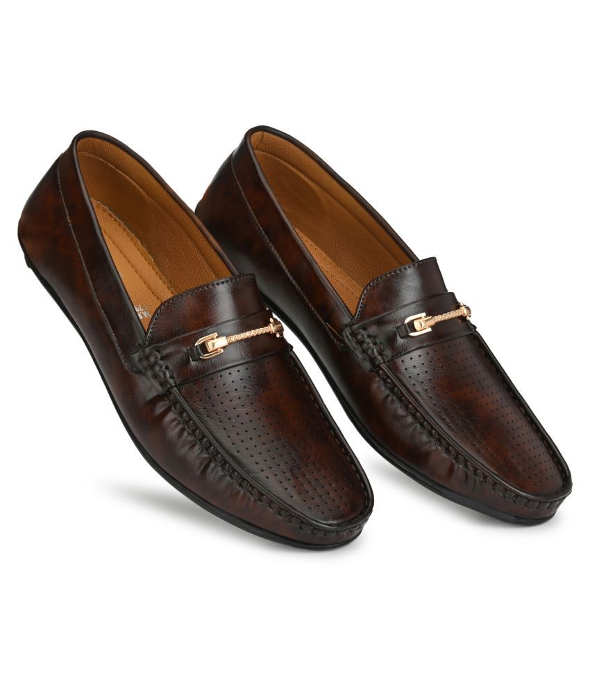 Prolific Slip On Non-Leather Brown Formal Shoes