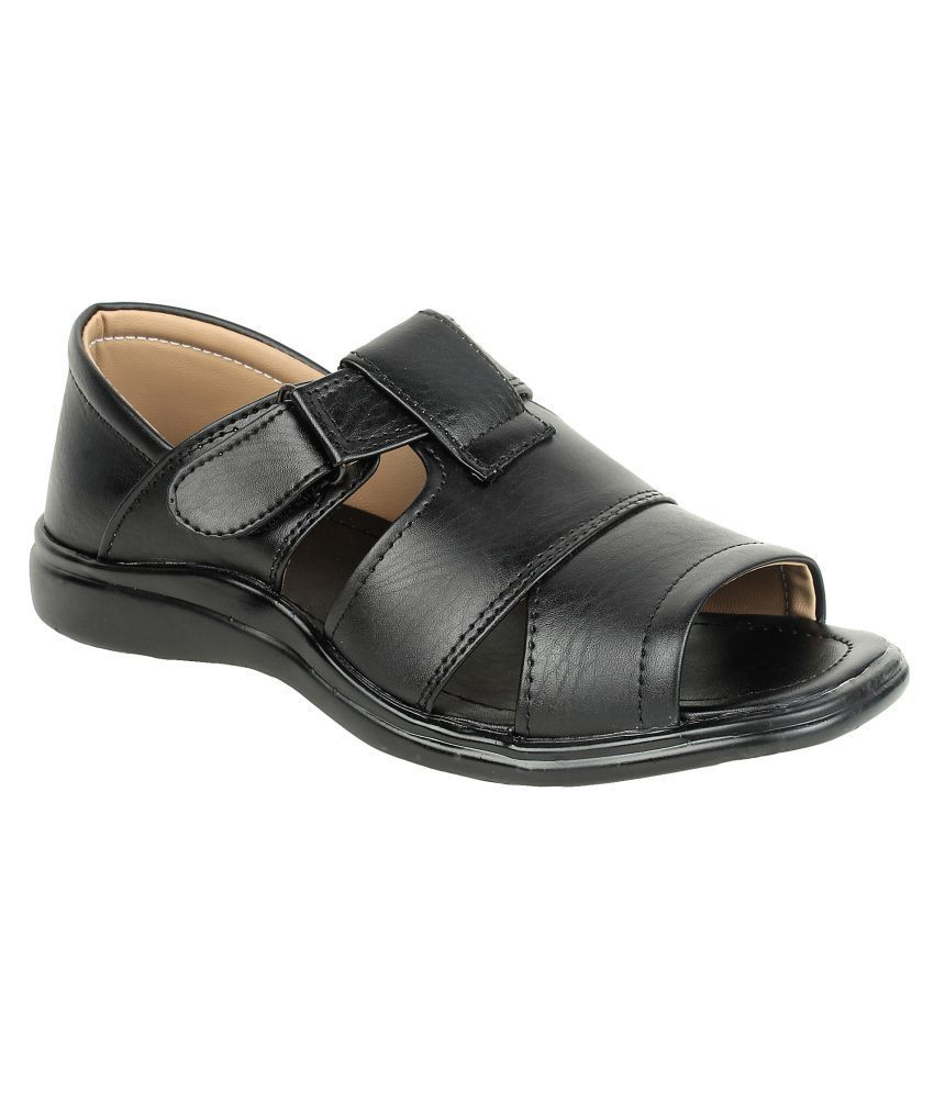 XYZREASONS Black Synthetic Leather Sandals