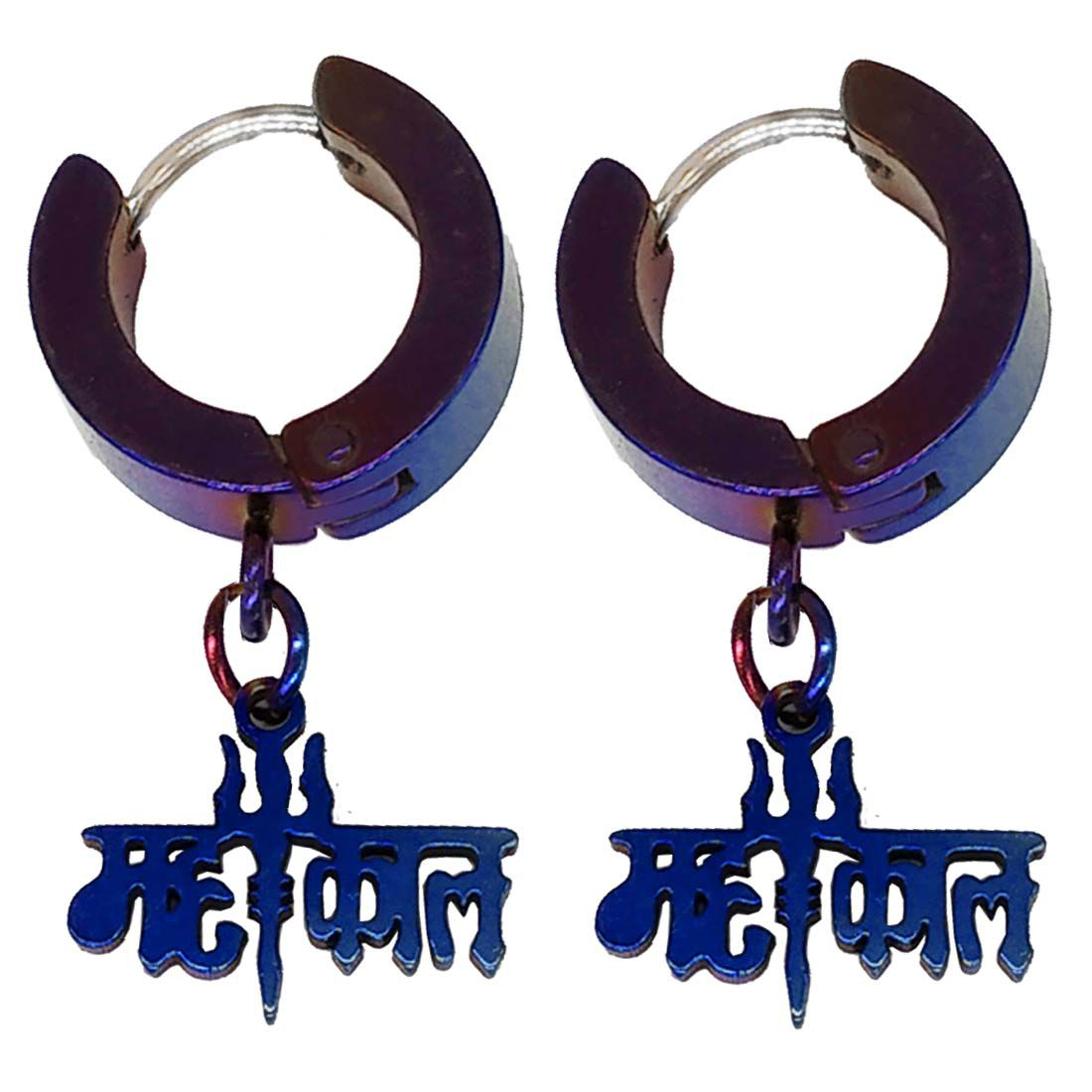 Men Style Trishul Mahakal Charm Drop Huggie Blue Stainless Steel Hoop Earring