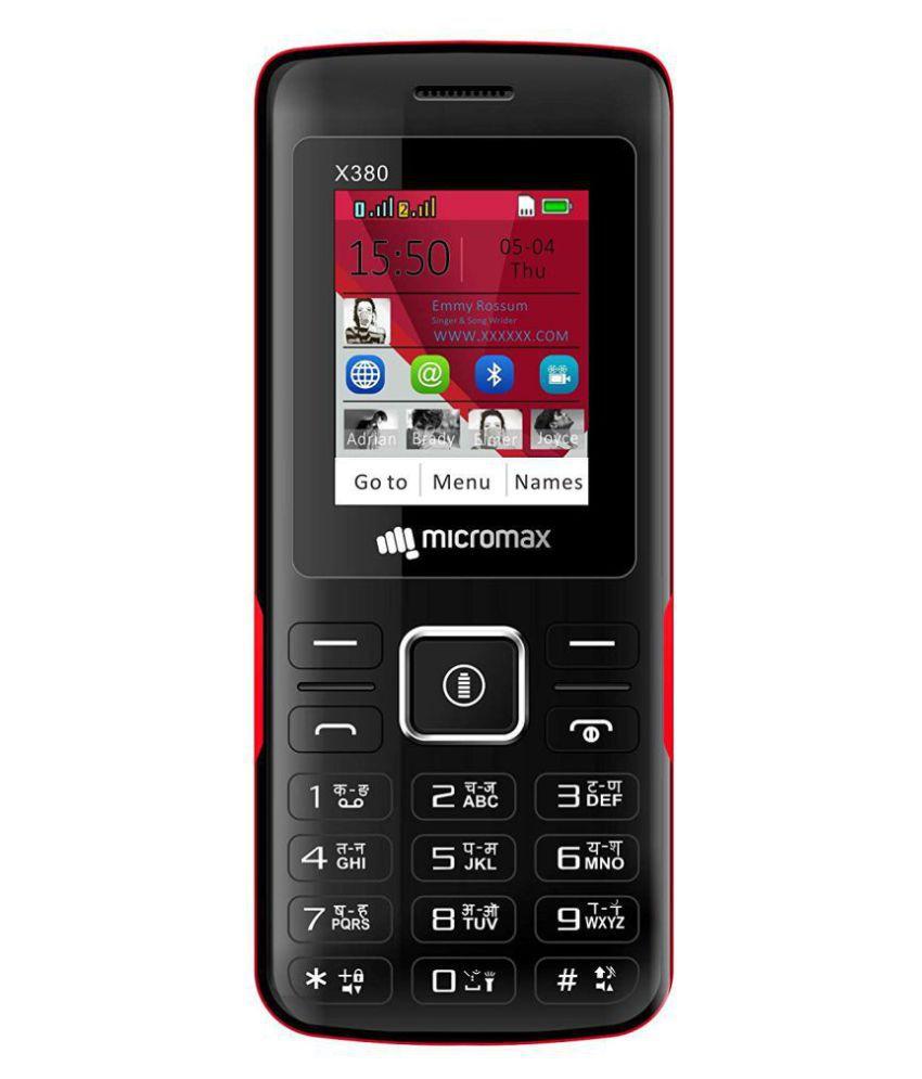 Micromax X380 DUAL SIM MOBILE Black Red