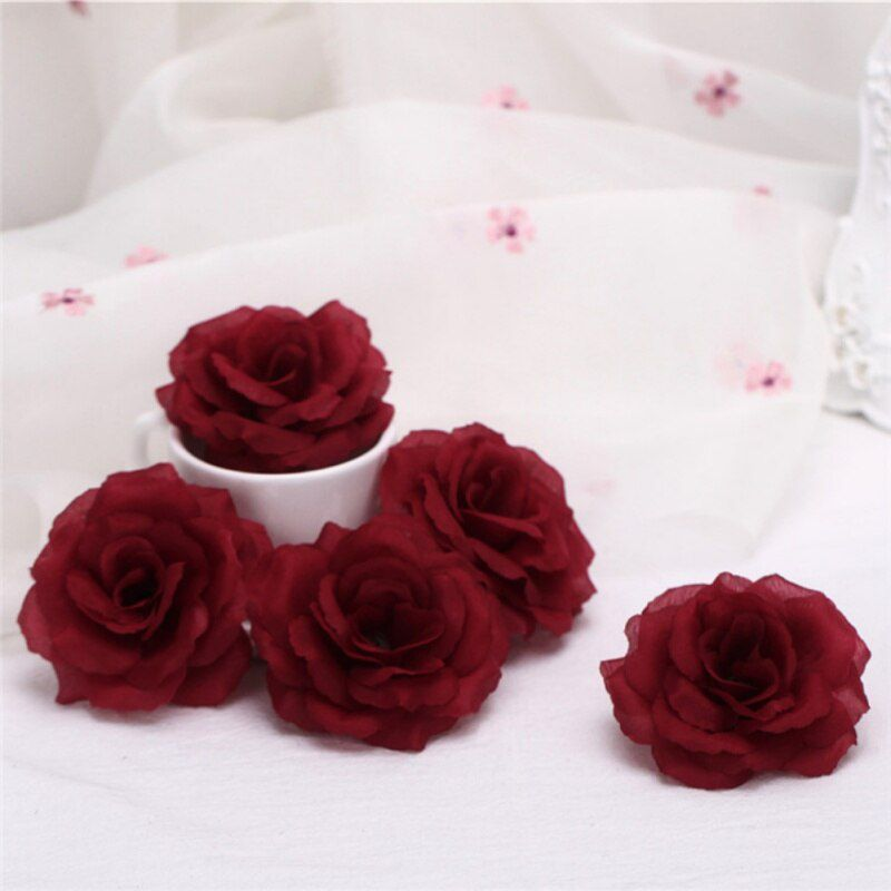 Artificial Floral Silk Roses Heads Bulk Flowers Home Wedding Party Prom Decor