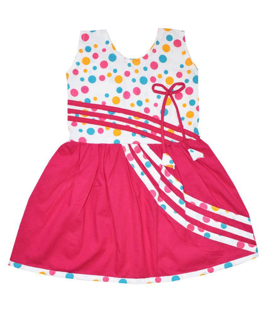 Dakshan Collections Self Design Cotton Dresses For Girls