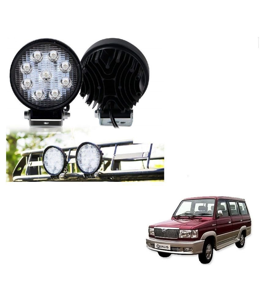 Auto Addict DEVICE 4 inch, 9 LED 27Watt Round Fog Light with Flood Beam Auxiliary Lamp Set Of 2 Pcs For Toyota Qualis