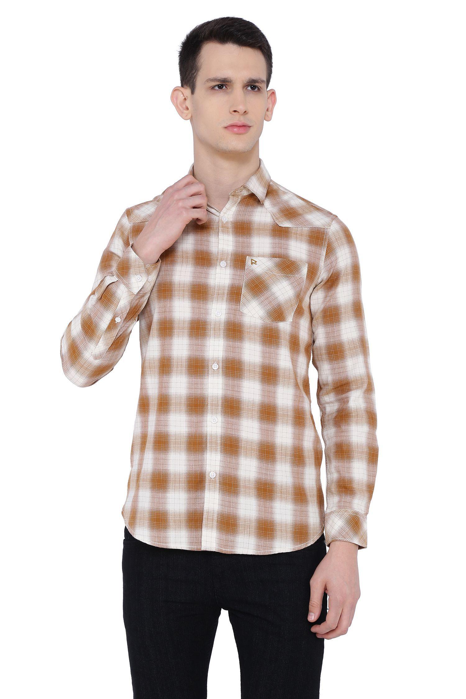 Risque 100 Percent Cotton Brown Checks Shirt